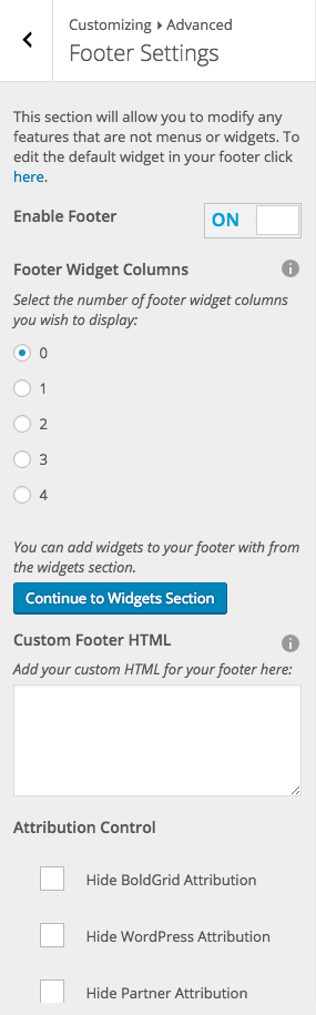 All Default Footer Controls