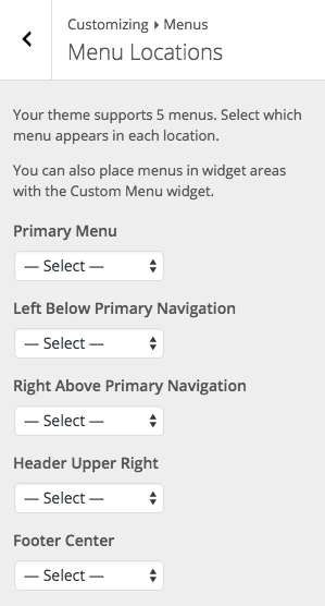 BoldGrid Default Menu Labels in WordPress Customizer
