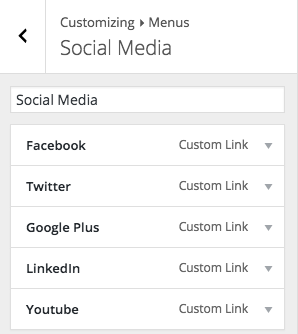 Default Social Media Menu