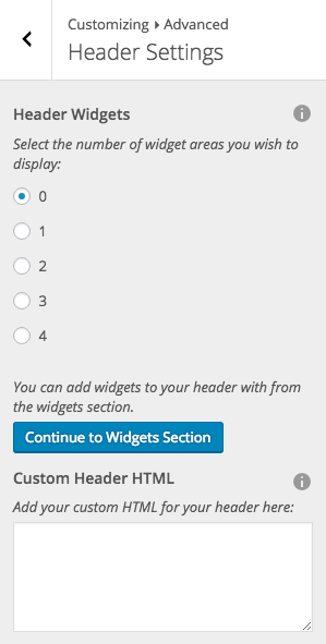 Default Header Panel Controls