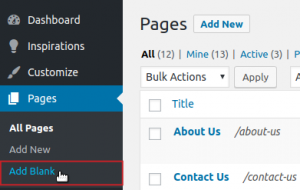 Pages Add Blank menu option highlighted