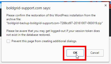 Click ok to confirm restoration
