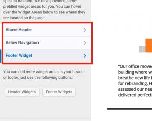 Select widget area