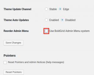Uncheck Use BoldGrid Admin Menu System