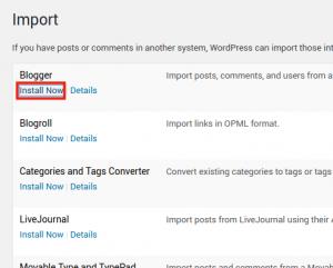 Install Blogger import tool