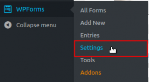 Navigate to WPForms Settings