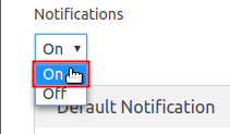 Enable Notifications drop-down menu highlighted
