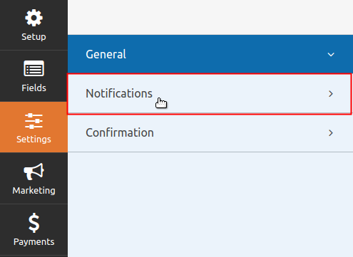 WPForms Form Notification Settings tab highlighted
