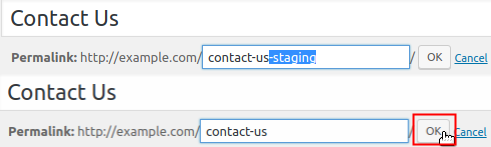 Staging Page Permalink remove -staging and click OK button