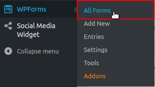 WPForms All Forms menu option highlighted