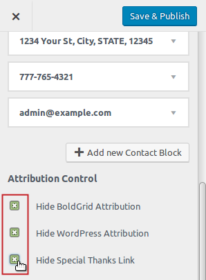 Footer Settings Attribution Control section