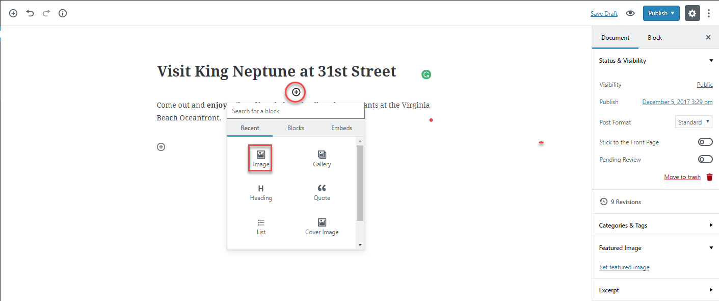 What Is The Gutenberg Editor Introduction Block Diagram Select A For Content You Can Find Add Option By Hovering Over Bottom Center Point Of Will See Plus Sign In Circle