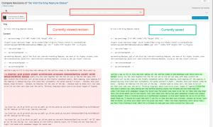 Revisions compare screen