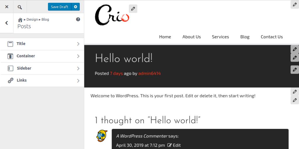 Customize blog posts menu