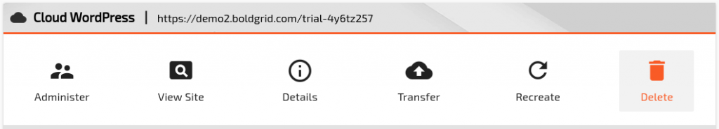 Image of the Cloud WordPress delete button.