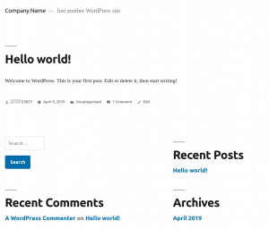 The WordPress Default Twenty Nineteen Theme and the WordPress Default Starter Content