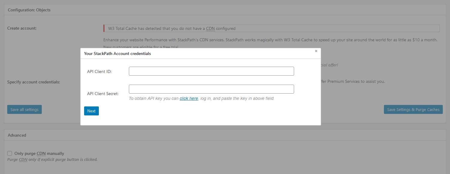 Adding your StackPath credentials in W3 Total Cache