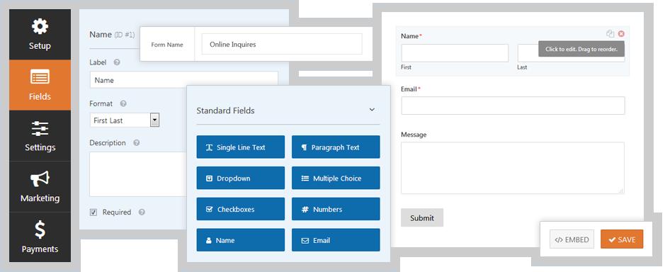 WordPress contact form features plugin
