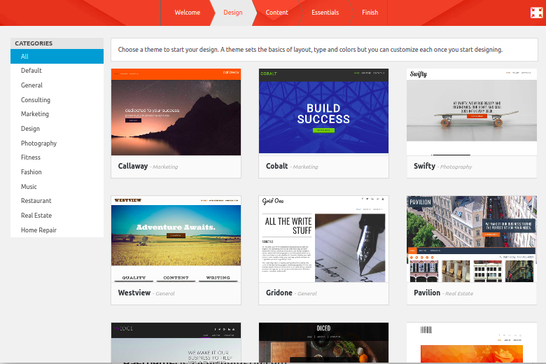 Screenshot of Inspirations 2.0 Theme Selection