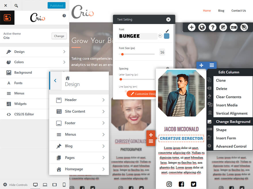 boldgrid crio wordpress theme for business