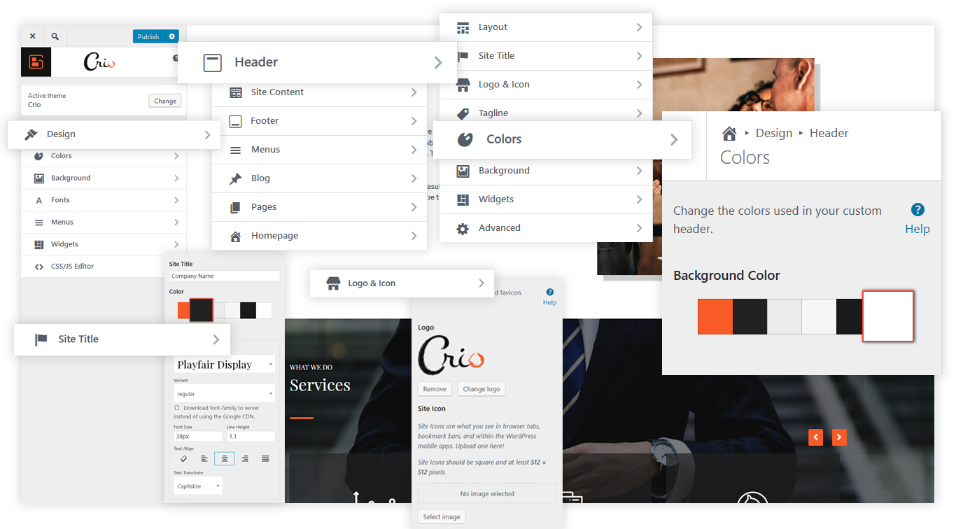 The Crio Customizer, with unprecedented controls for your WordPress Theme