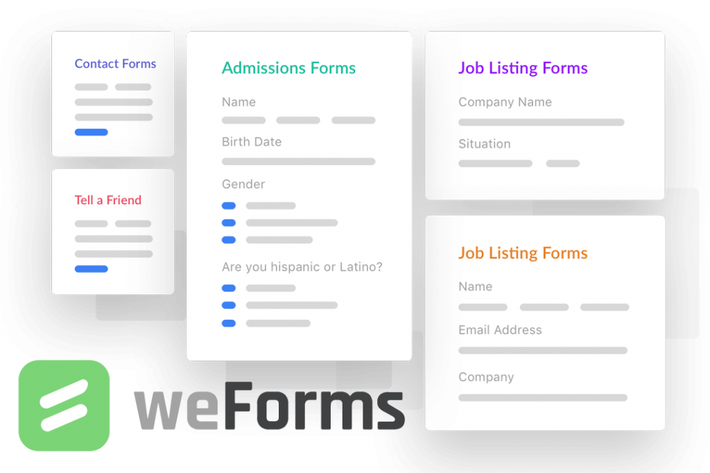 Showing off the types of WordPress contact forms you can make with weForms